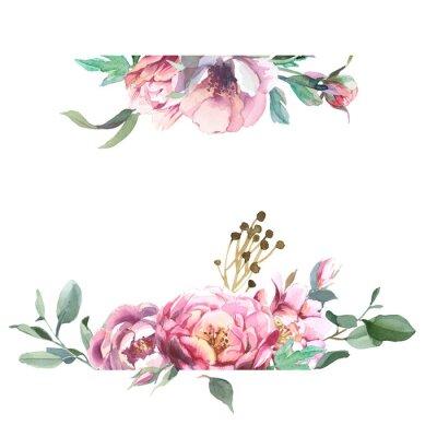 Fototapeta Akwarele ramki kwiaty piwonii i blosom izolować na białym tle. Element kwiatowy na kartki ślubne i zaproszenia, kartki walentynkowe i grafiki
