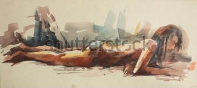 Fototapeta Akwarele szkice z plaży nudystów. Nagie dziewczyny opalają się na piasku nad morzem. Rysowanie farbą na papierze.