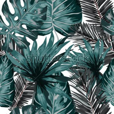 Fototapeta Akwarelowy wzór z tropikalnych liści: palmy, monstera, marakuja. Piękny nadruk allover z ręcznie rysowanymi egzotycznymi roślinami. Projektowanie botaniczne strojów kąpielowych. Wektor