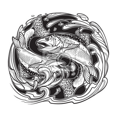 Alchemia Element Wody Znak Zodiaku Ryby Dwie Ryby Skaczę Fototapety Redro