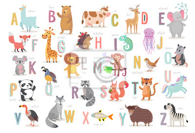 Fototapeta Alfabet Cute Animals dla edukacji dzieci. Zabawne ręcznie rysowane postacie w stylu.