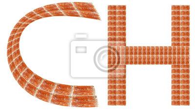 Fototapeta Alfabet z czerwonej cegły, CH List