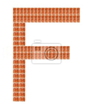 Fototapeta Alfabet z czerwonej cegły, na literę F
