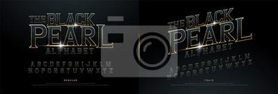 Fototapeta Alfabet złoty metalik i efekt wzorów dla logo, plakatu, zaproszenia. Ekskluzywna koncepcja filmu z regularnymi czcionkami Gold Letters Typography. ilustracji wektorowych
