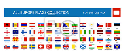 Fototapeta All Europe Flags round rectangle flat buttons isolated on white