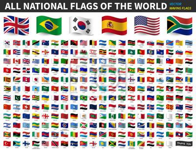 Fototapeta All national flags of the world . Waving flag design . Vector .