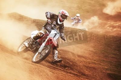 Fototapeta Almaty, Kazachstan - 10 kwietnia: P.Blinov (1) leci w powietrzu w konkursie Motocross
