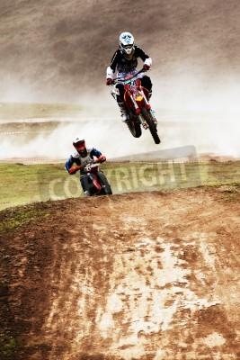 Fototapeta Almaty, Kazachstan - 10 kwietnia: V.Brikun (24) w konkursie Motocross