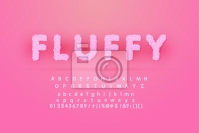 Fototapeta Alphabet Is Made Of Fur Texture. Fluffy pink fur texture font for poster branding