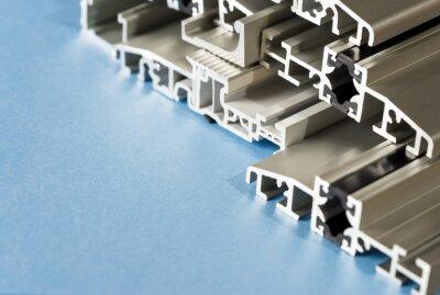 Fototapeta Aluminiowy profil anodowany przekrój pvc kompozytowe aluminium zbliżenie