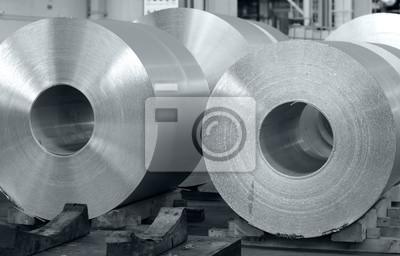 Fototapeta aluminum coils stored in a cast house