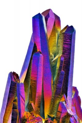 Fototapeta Amazing colorful Quartz Rainbow Titanium aura crystal cluster on white background