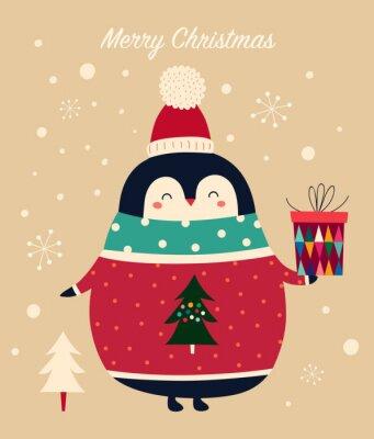 Fototapeta Amazing illustration of cute penguin in red sweater