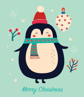 Fototapeta Amazing illustration of cute penguin with scarf