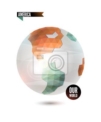 America. Świat tło w stylu origami.