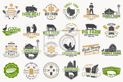 Fototapeta American Farm and Honey bee farm Badge or Label. Vintage typography design with bee, honeycomb piece, hive, chicken, pig, cow and farm house silhouette. Elements on the theme farm business.