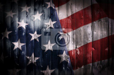 Fototapeta American Flag na drewno