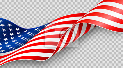Fototapeta American flag on transparent background for 4t of July poster template.USA independence day celebration.USA 4th of July promotion advertising banner template for Brochures,Poster or Banner