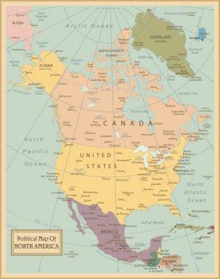 Fototapeta Ameryka Północna-bardzo szczegółowe map.Layers używane