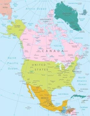 Fototapeta Ameryka Północna-bardzo szczegółowej mapie.