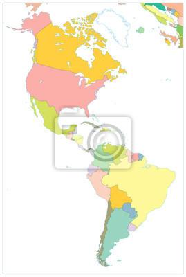 Fototapeta Ameryka Polnocna I Ameryka Poludniowa Mapa Polityczna