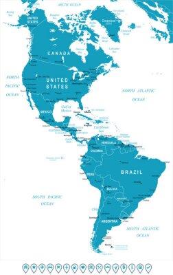 Fototapeta Ameryka Północna i Południowa mapę - bardzo szczegółowe ilustracji wektorowych. Obraz zawiera kontury ziemi, nazwy krajów i krajów, nazwy miast, nazw obiektów wodę, ikony nawigacyjne.