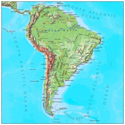 Fototapeta Ameryka Południowa fizyczną mapę kontynentu
