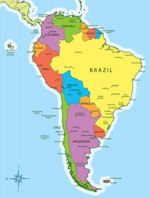 Fototapeta Ameryka Południowa kraje mapa i miasta