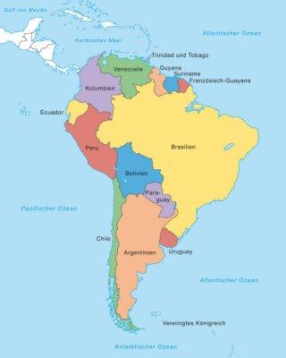 Fototapeta Ameryka Południowa mapa