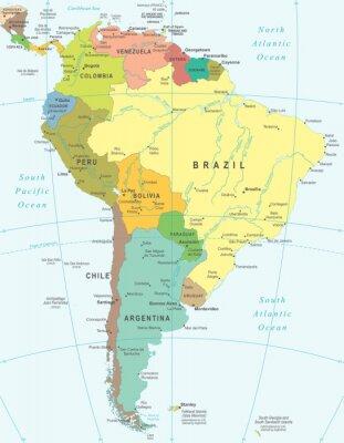 Fototapeta Ameryka Południowa mapa - bardzo szczegółowe ilustracji wektorowych.