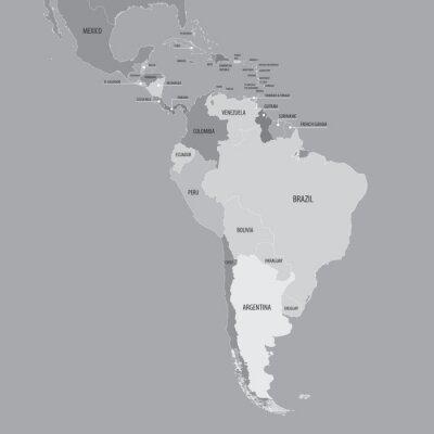 Fototapeta Ameryka Południowa Mapa - Wektor Mapa Ameryki Południowej i Środkowej