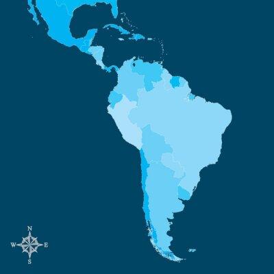 Fototapeta Ameryka Południowa Mapa - Wektor Mapa Ameryki Południowej z północy strzałką
