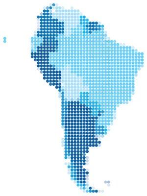 Ameryka południowa z niebieskich kropek