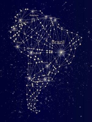Fototapeta Ameryka Południowa Starry Mapa na nocnym niebie