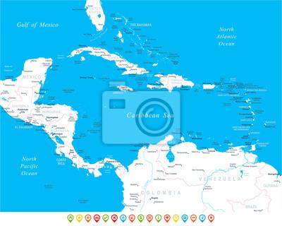 Fototapeta Ameryka Srodkowa Mape Bardzo Szczegolowe Ilustracji
