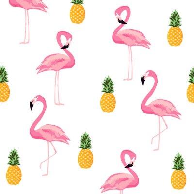 Fototapeta Ananas i flamingo na białym tle bezszwowe tło wzór. Ładny projekt plakatu. Tapeta, zaproszenie karta, tekstylnego druku wektorowy ilustracyjny projekt