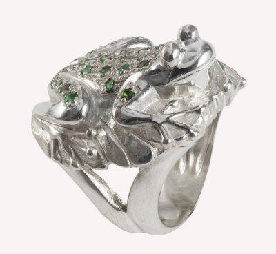 Fototapeta Anello forma di rana con Smeraldi