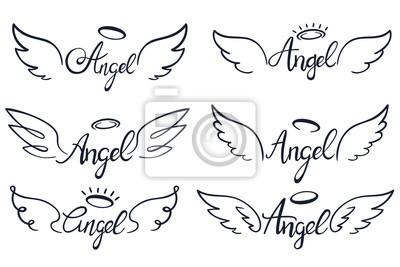 Fototapeta Angel wings lettering. Heaven wing, heavenly winged angels and holy wings sketch vector illustration set