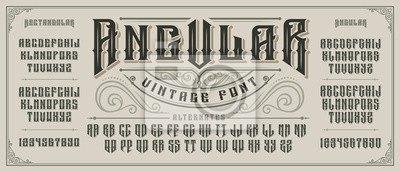 Fototapeta Angular display font with serifs and drop shadow in old style.
