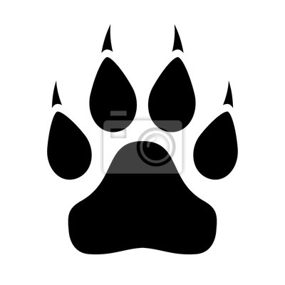 Fototapeta Animal paw icon with claws