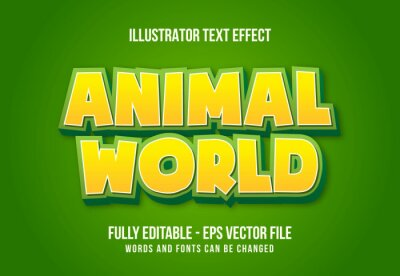 Fototapeta Animal World text effect template with 3d style editable font effect