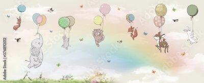 Fototapeta animals in the sky on balloons