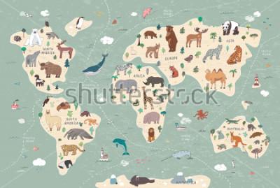 Fototapeta Animals on world map illustrations  hand drawn vector set