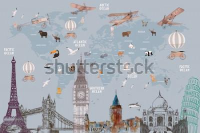 Fototapeta Animals world map and famous landmarks of the world for kids wallpaper design