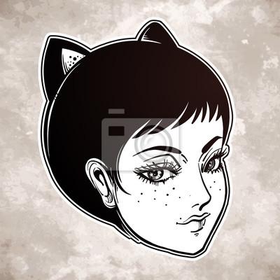 Fototapeta Anime Lub Retro Manga Stylu Kobieta Z Kot Uszy Na Wymiar