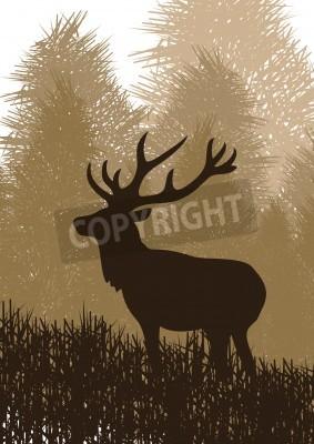 Fototapeta Animowane deszcz jeleni w dzikiej przyrody krajobrazu ilustracji