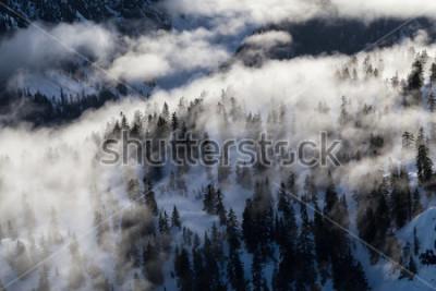 Fototapeta Antena krajobrazowy widok śnieg i chmura zakrywał pasmo górskie Północ Vancouver, kolumbiowie brytyjska, Kanada.