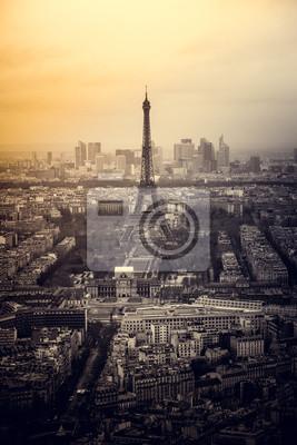 Fototapeta Antenowe panoramę Paryża, Francja, z wieży Eiffla widziana z Tour Montparnasse