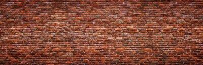 Fototapeta Antique brick wall, panoramic view. Grunge stone texture.