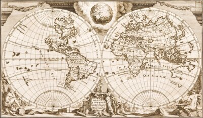 Fototapeta Antique world map of the 18th century, old paper